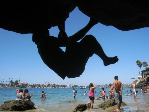 Dan Pacifico bouldering at Pirate's Cove in Corona del Mar, CA