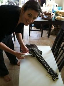 Adding the final touches to the mandolin birthday cake