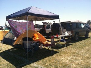 Side view of the back of our campsite.