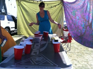 Losing at beer pong.