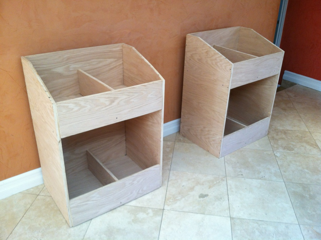 Completed vinyl record storage bins