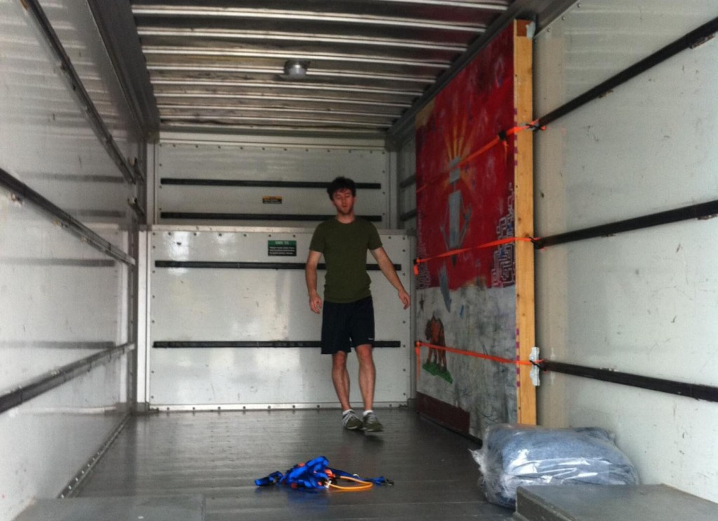 Andy and the climbing wall in the U-Haul