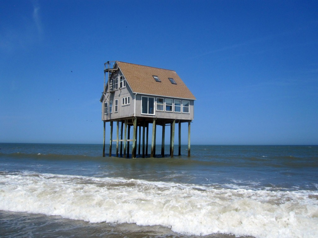House on stilts off an island in Wachapreague, VA