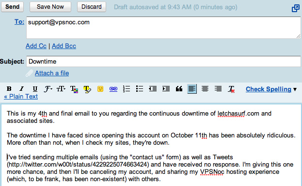 An example of an email ignored by VPSNOC.