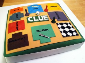 Finished cake with Clue game pieces