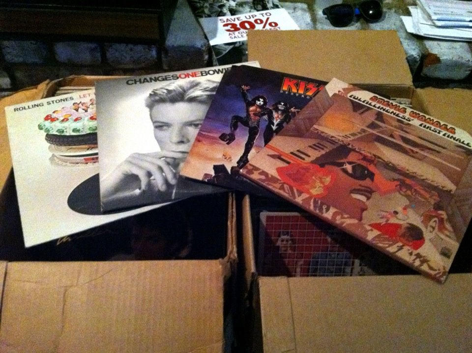 Two boxes full of vinyl records