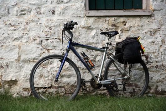 Bike up against lock house