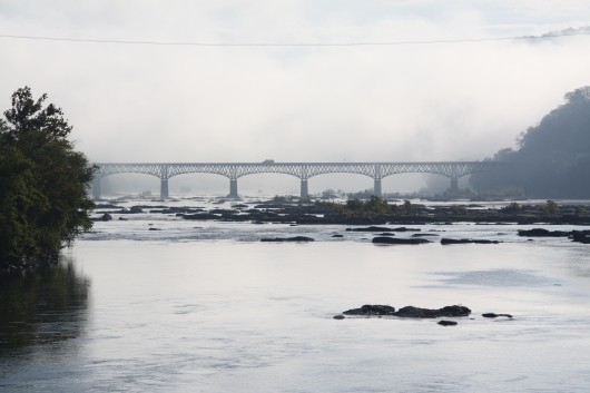 Bridge in thick fog over the Potomac in Harper's Ferry