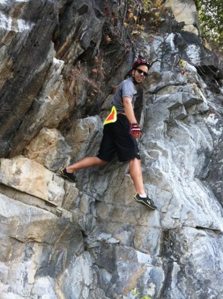 Climbing on rocks around Big Slackwater