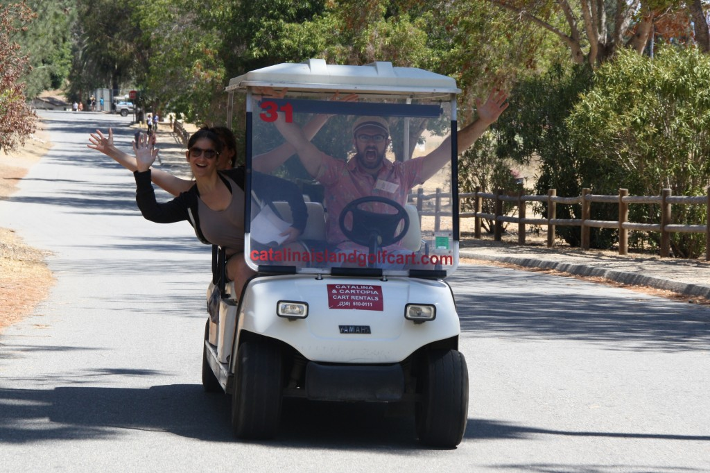 Riding in golf carts on Catalina Island