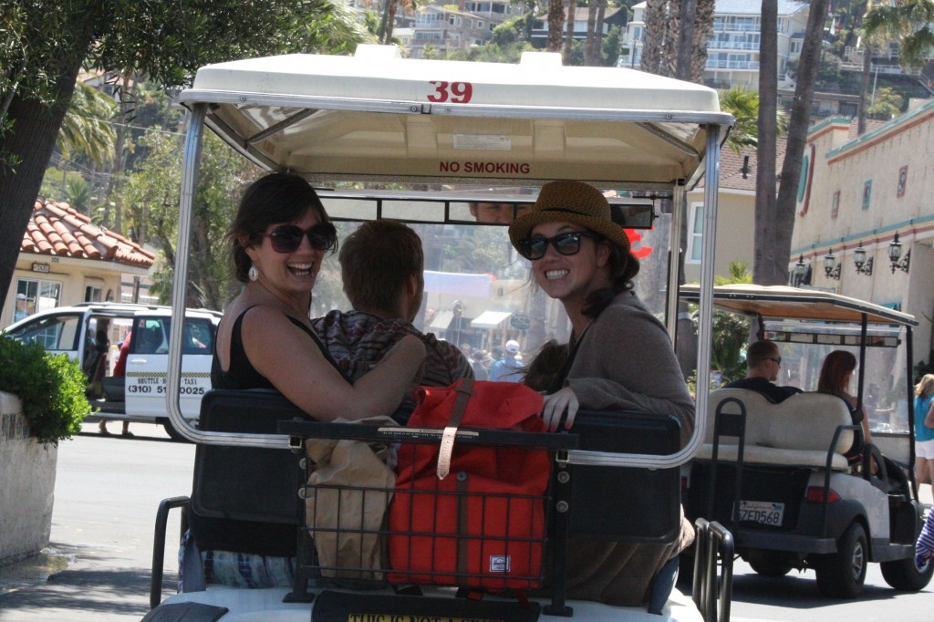 Lauren and Rachel in golf carts