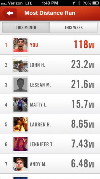 Nike+ marathon training - app leaderboard