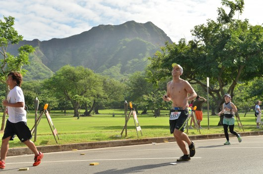 Passing Diamond Head in the 2013 Honolulu Marathon