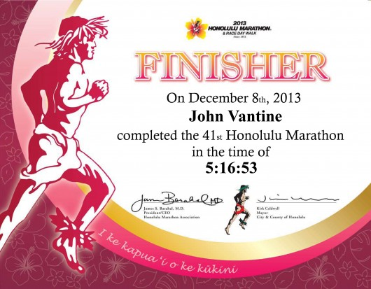 Finisher certificate from the 2013 Honolulu Marathon