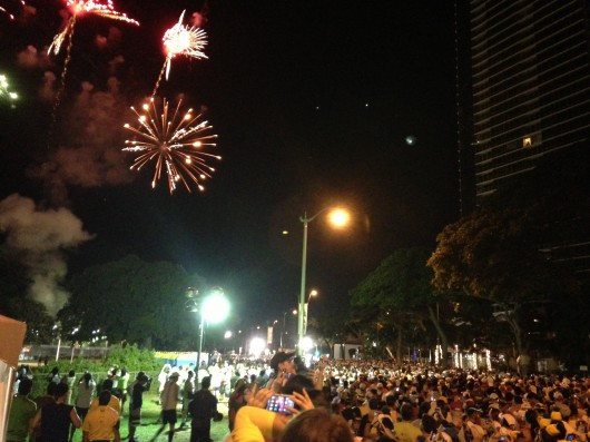 Fireworks before 2013 Honolulu Marathon