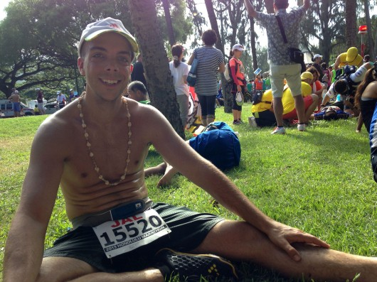 Sitting down after 2013 Honolulu Marathon