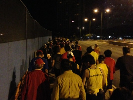 Walking to the starting line of the 2013 Honolulu Marathon