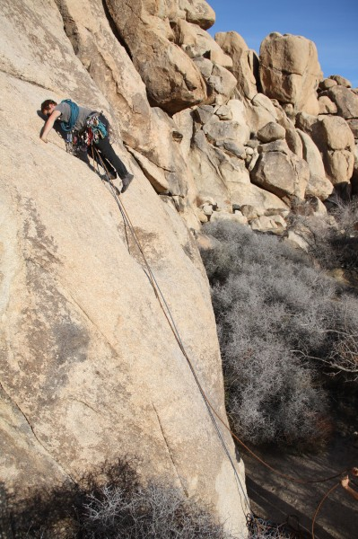 Ethan climbing on AFPA South Face in Joshua Tree
