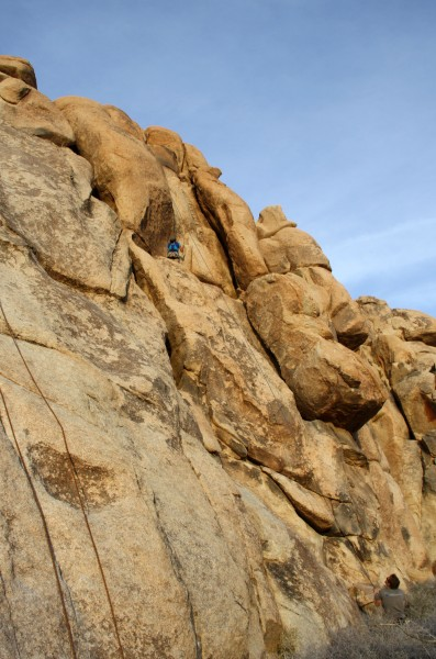 Lesley on top of AFPA South Face in Joshua Tree
