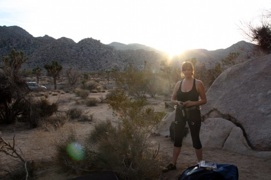 Lauren waiting to climb in Joshua Tree
