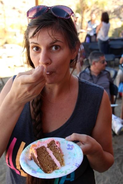 Lauren tastes the cake