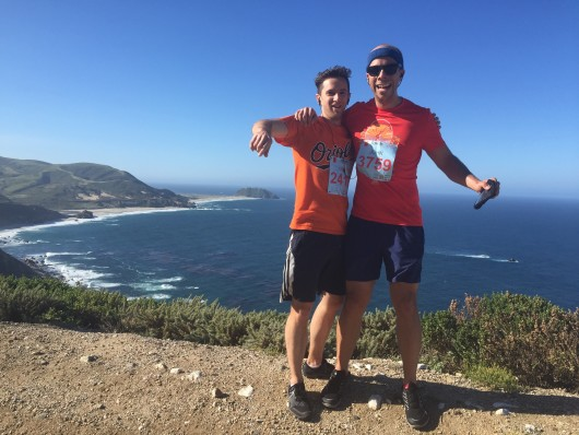 Andy and I at a vista point along the 2015 Big Sur Marathon course