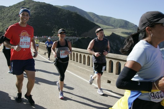 Crossing Bixby Bridge during the 2015 Big Sur Marathon