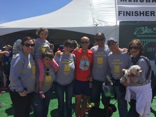 Family at the finishers area