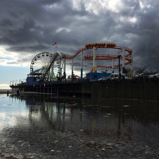Santa Monica pier during rain and hail on February 1st, 2015