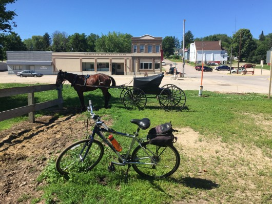 Parking my bike next to a horse in Elroy, WI
