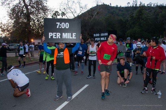 Waiting to start the Griffith Park Half Marathon