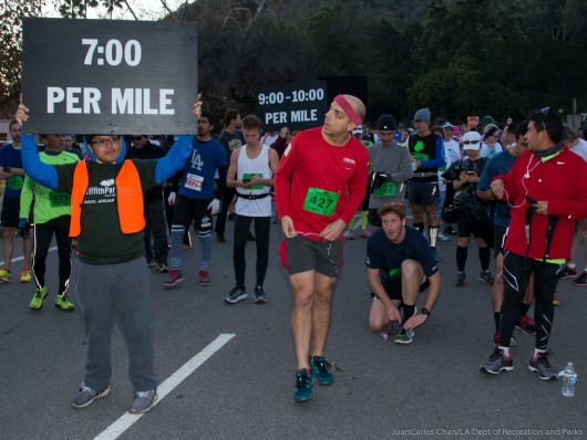 Hanging at the starting line before the Griffith Park Half Marathon