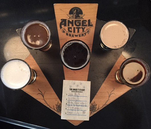Post-race beer flight at Angel City Brewing Company